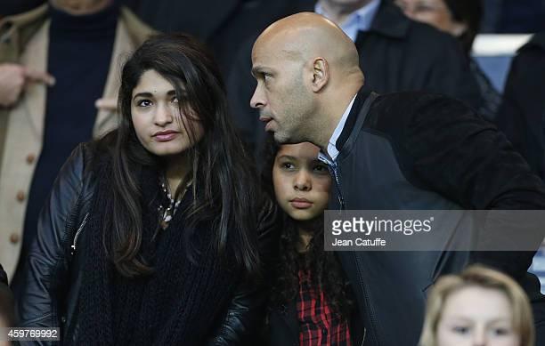 Eric Judor and his daughters Luna Judor and Beatrix Judor attend the French Ligue 1 match between Paris SaintGermain FC and OGC Nice at Parc des...