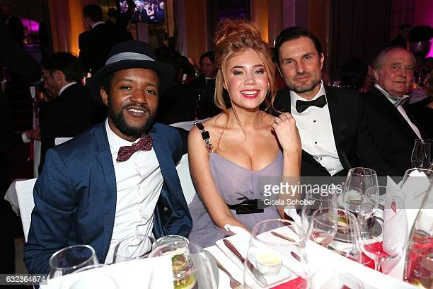 Eric Kabongo Palina Rojinski and Simon Verhoeven during the 44th German Film Ball 2017 party at Hotel Bayerischer Hof on January 21 2017 in Munich...