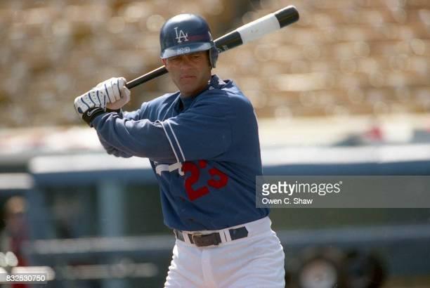 Eric Karros of the Los Angeles Dodgers prepares to bat at Dodger Stadium circa 1999 in Los Angeles California