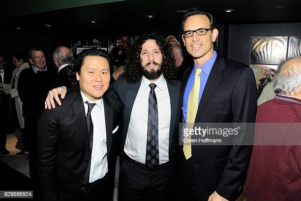 Eric Kau Adam Leibsohn and Michael O'Brien attend Scleroderma Research Foundation's Cool Comedy Hot Cuisine at Carolines on December 12 2016 in New...