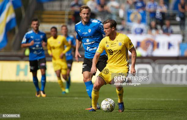 Eric Larsson of GIF Sundsvall and Alexander Ruud Tveter of Halmstad BK during the Allsvenskan match between Halmstad BK and GIF Sundsvall at Orjans...