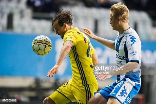 Eric Larsson of GIF Sundsvall and Billy Nordstrom of IFK Goteborg battles for the ball during the Allsvenskan match between IFK Goteborg and GIF...