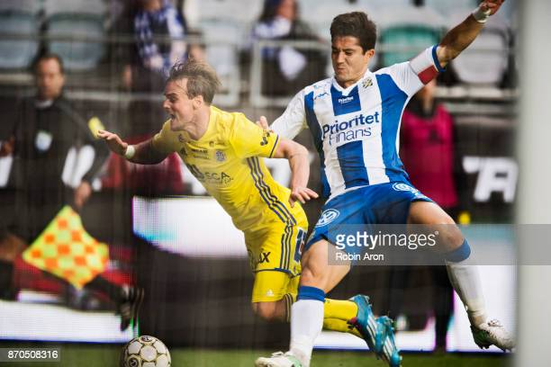 Eric Larsson of GIF Sundsvall and David Boo Wiklander of IFK Goteborg competes for the ball during the Allsvenskan match between IFK Goteborg and GIF...