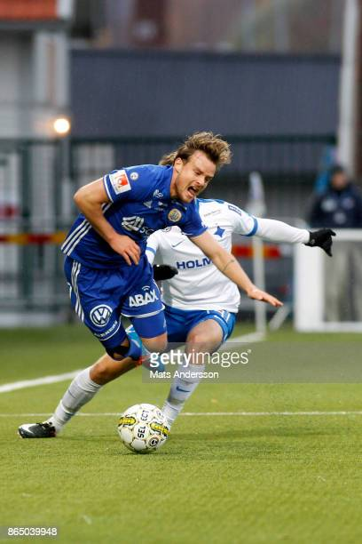 Eric Larsson of GIF Sundsvall and Simon Skrabb of IFK Norrkoping in action during the Allsvenskan match between GIF Sundsvall and IFK Norrkoping at...