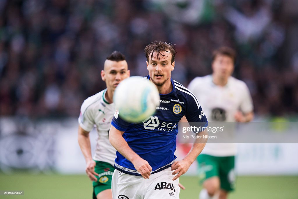 Eric Larsson of GIF Sundsvall during the Allsvenskan match between Hammarby IF and GIF Sundsvall at Tele2 Arena on May 1, 2016 in Stockholm, Sweden.