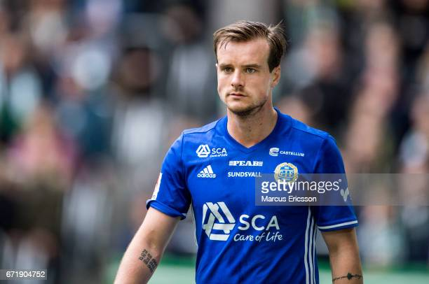 Eric Larsson of GIF Sundsvall during the Allsvenskan match between Hammarby IF and GIF Sundsvall at Tele2 Arena on April 23 2017 in Stockholm Sweden