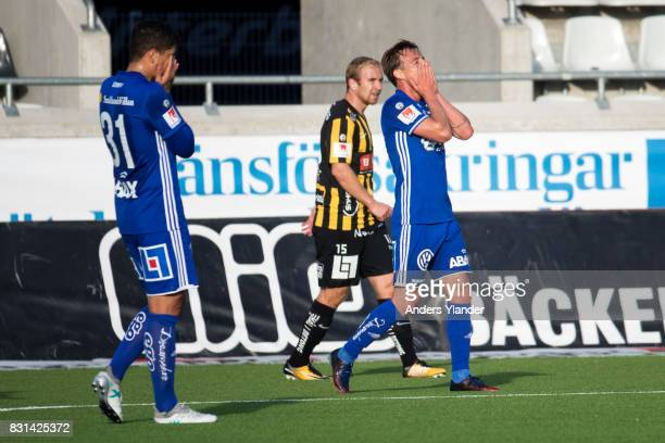 Eric Larsson of GIF Sundsvall looks dejected during the Allsvenskan match between BK Hacken and GIF Sundsvall at Bravida Arena on August 14 2017 in...