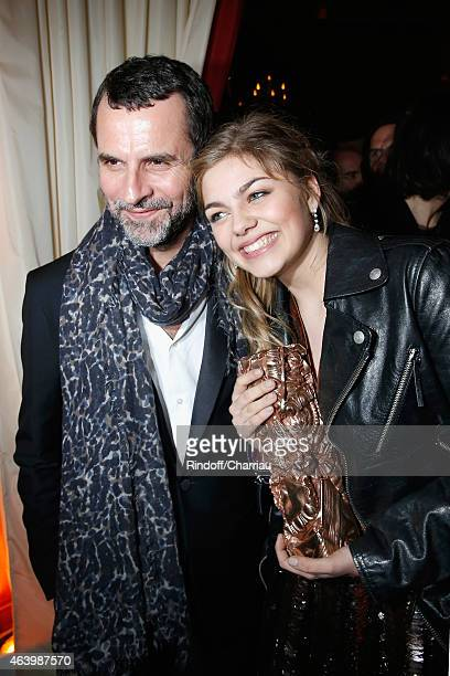 Eric Lartigau and Louane Emera attend a dinner after the 40th Cesar Film Awards 2015 at Le Fouquet's on February 20 2015 in Paris France