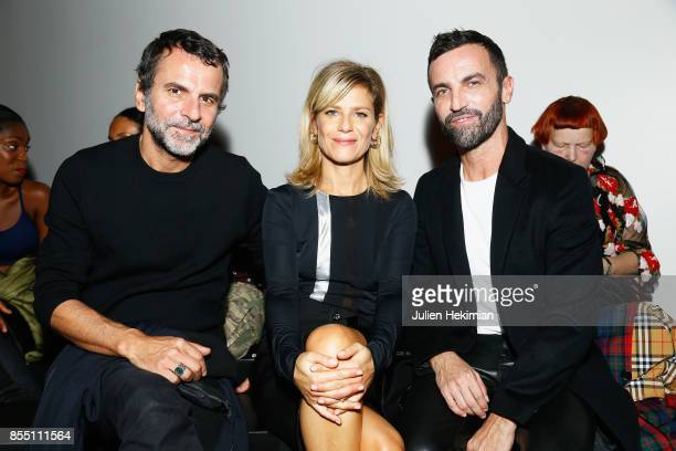 Eric Lartiguau Marina Fois and Nicolas Ghesquiere attend the Paco Rabanne show as part of the Spring Summer 2018 Womenswear Show at Grand Palais on...