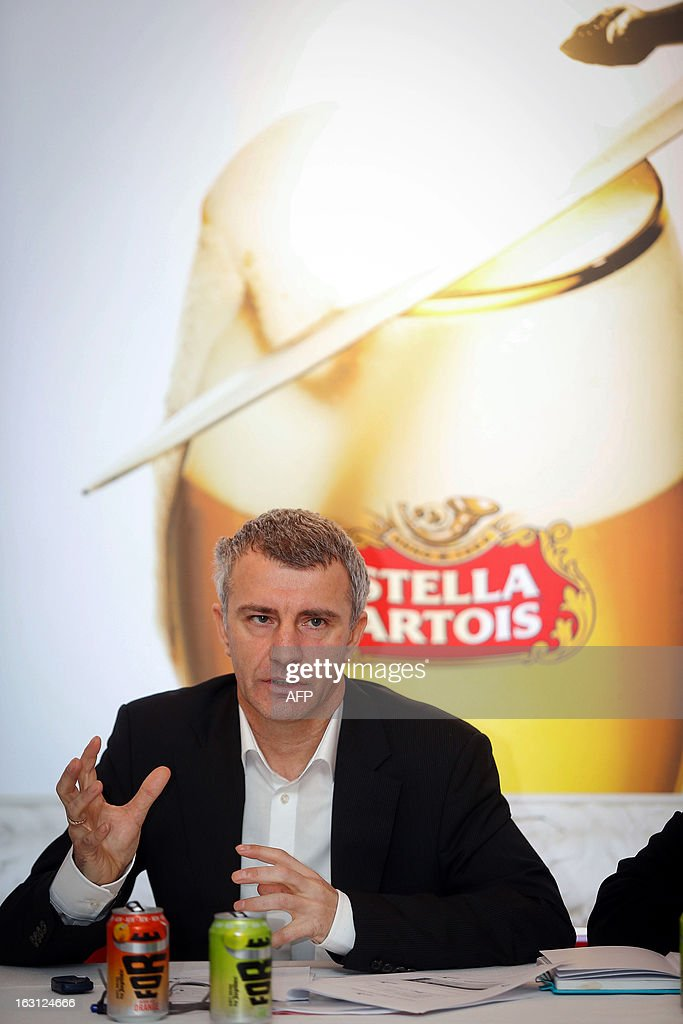Eric Lauwers, general director of AB InBev gives a press conference on March 5, 2013 to announce the 2012 results for France and the Benelux of brewery group AB InBev in Leuven. AFP PHOTO / BELGA BRUNO FAHY -- Belgium Out