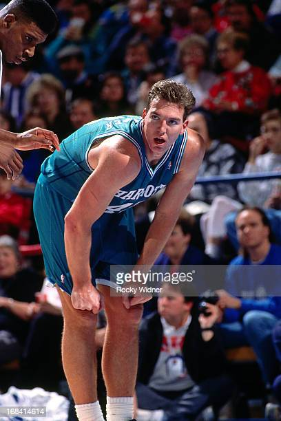 Eric Leckner of the Charlotte Hornets rests against the Sacramento Kings during a game played on February 27 1991 at Arco Arena in Sacramento...