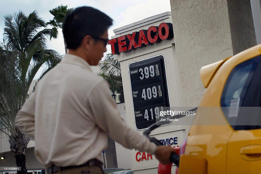 Eric Lian fuels up his car at a gas station on March 16, 2012 in Miami Beach, Florida. Reports indicate that the consumer price index rose 0.4 percent in February, the largest increase in 10 months. Gas prices rose 6 percent to account for most of the gain.