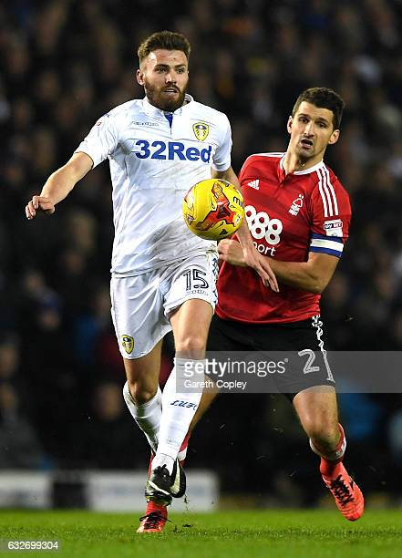 Eric Lichaj of Nottingham Forest closes down Stuart Dallas of Leeds United during the Sky Bet Championship match between Leeds United and Nottingham...
