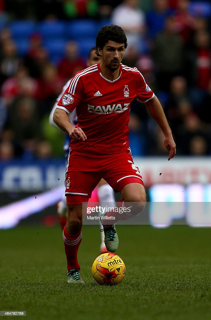 Eric Lichaj of Nottingham Forest during the Sky Bet Championship match between Reading and Nottingham Forest at Madejski Stadium on February 28, 2015 in Reading, England.