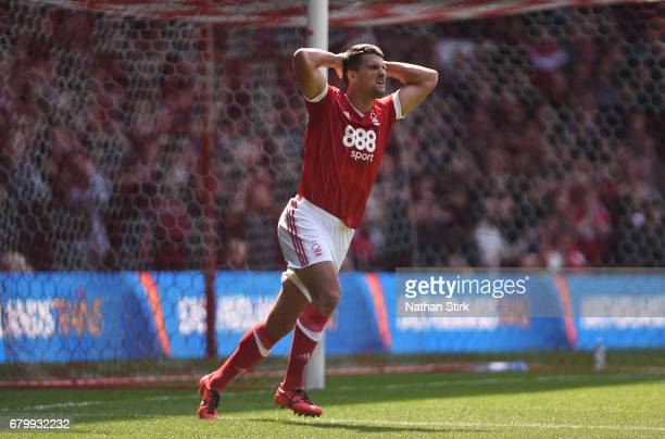 Eric Lichaj of Nottingham Forest reacts during the Sky Bet Championship match between Nottingham Forest and Ipswich Town at City Ground on May 7 2017...