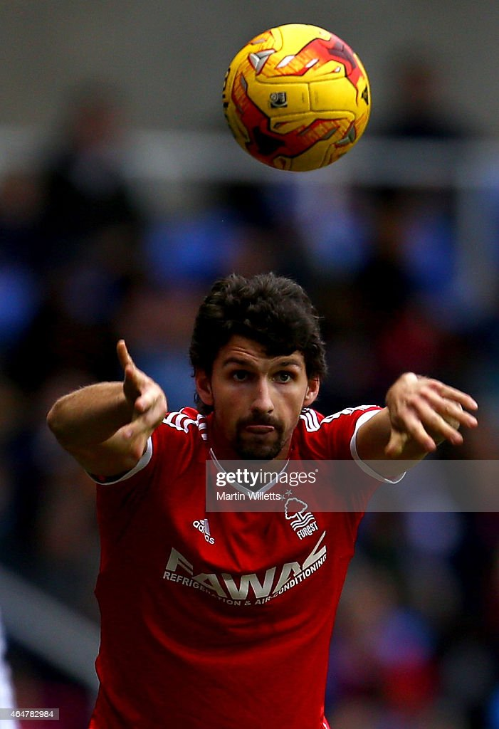 Eric Lichaj of Nottingham Forest takes a throw in during the Sky Bet Championship match between Reading and Nottingham Forest at Madejski Stadium on February 28, 2015 in Reading, England.