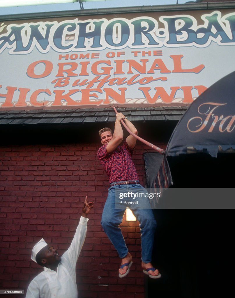 Eric Lindros clowns around at the Anchor Bar the night before the NHL Draft on June 21, 1991 in Buffalo, New York