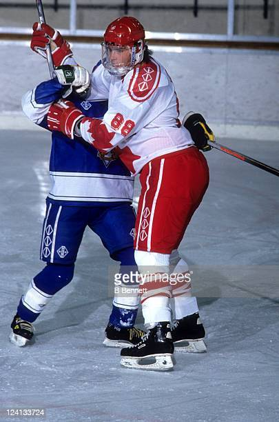 Eric Lindros of Team Canada fights for position during a 1992 World Junior Championships game against Finland on December 30 1991 in Fussen Germany