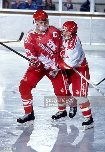 Eric Lindros of Team Canada fights for position during the 1992 World Junior Championships Finals game against the Commonwealth of Independent States...