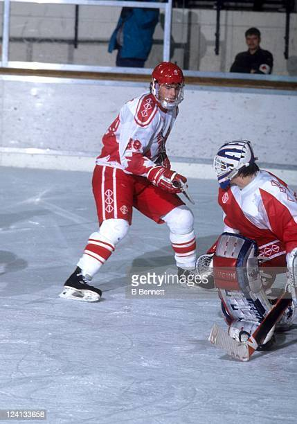 Eric Lindros of Team Canada looks for the rebound during a 1992 World Junior Championships game against Czechoslovakia on January 2 1992 in Fussen...