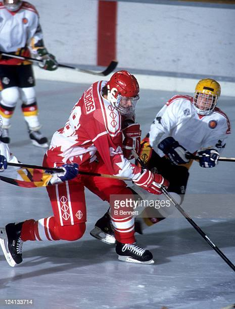 Eric Lindros of Team Canada skates with the puck during a 1992 World Junior Championships game against Germany on December 26 1991 in Fussen Germany