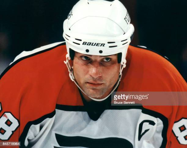 Eric Lindros of the Philadelphia Flyers skates on the ice during an NHL game circa 1996 at the CoreStates Center in Philadelphia Pennsylvania