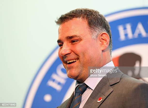 Eric Lindros speaks with the media during a Hall of Fame Induction photo opportunity at the Hockey Hall Of Fame on November 11 2016 in Toronto Canada