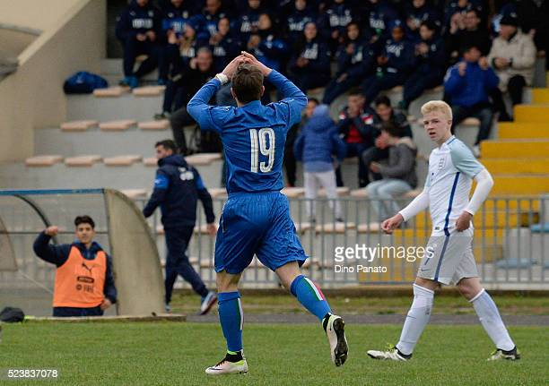 Eric Lirussi of Italy U15 celebrates after scoring his team's second goal during the U15 International Tournament match between Italy and England at...