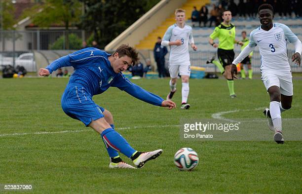 Eric Lirussi of Italy U15 scores his team's second goal during the U15 International Tournament match between Italy and England at Stadio Colussi on...
