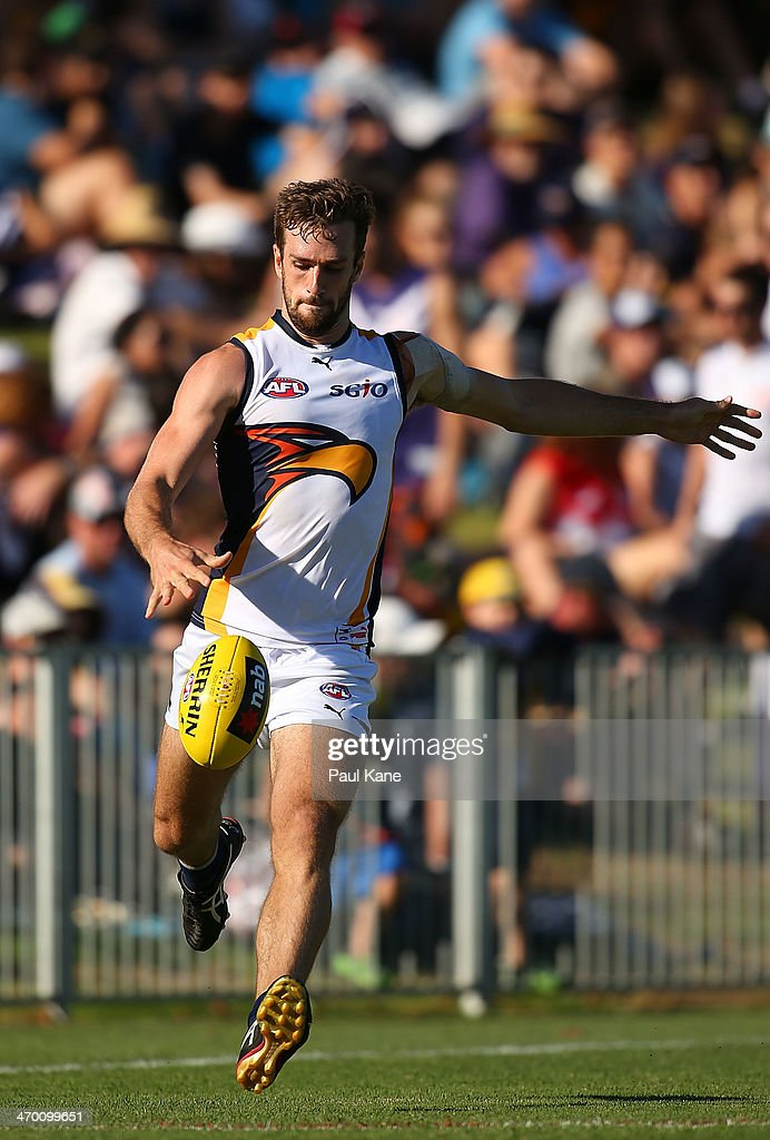 Eric Mackenzie of the Eagles passes the ball during the round two NAB Challenge Cup AFL match between the Fremantle Dockers and the West Coast Eagles at Arena Joondalup on February 18, 2014 in Perth, Australia.
