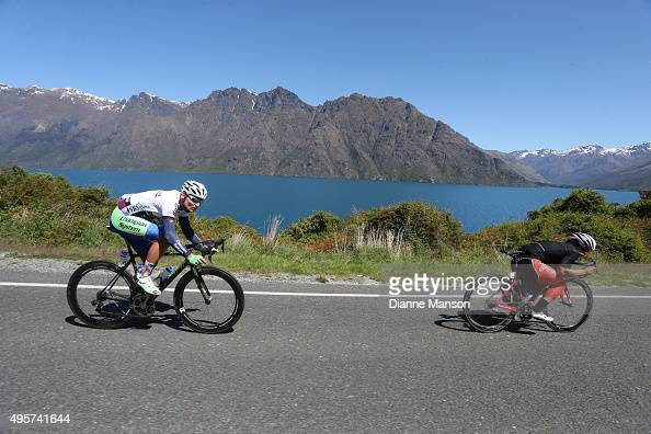 Eric Marcotte of US glides the Devils Staircase in front of Matt Zenovich of Invercargill in stage four of the Tour of Southland on November 5 2015...