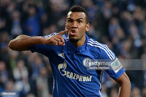 Eric Maxim ChoupoMoting of Schalke celebrates after scoring the opening goal during the Bundesliga match between FC Schalke 04 and VfL Wolfsburg at...