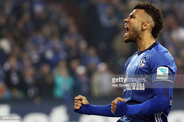 Eric Maxim ChoupoMoting of Schalke celebrates his team's second goal during the Bundesliga match between FC Schalke 04 and SV Darmstadt 98 at...