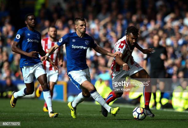 Eric Maxim ChoupoMoting of Stoke City battles with Morgan Schneiderlin of Everton during the Premier League match between Everton and Stoke City at...