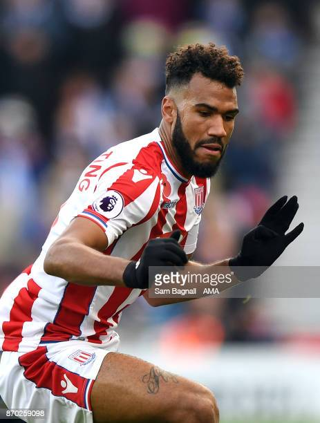 Eric Maxim ChoupoMoting of Stoke City during the Premier League match between Stoke City and Leicester City at Bet365 Stadium on November 4 2017 in...
