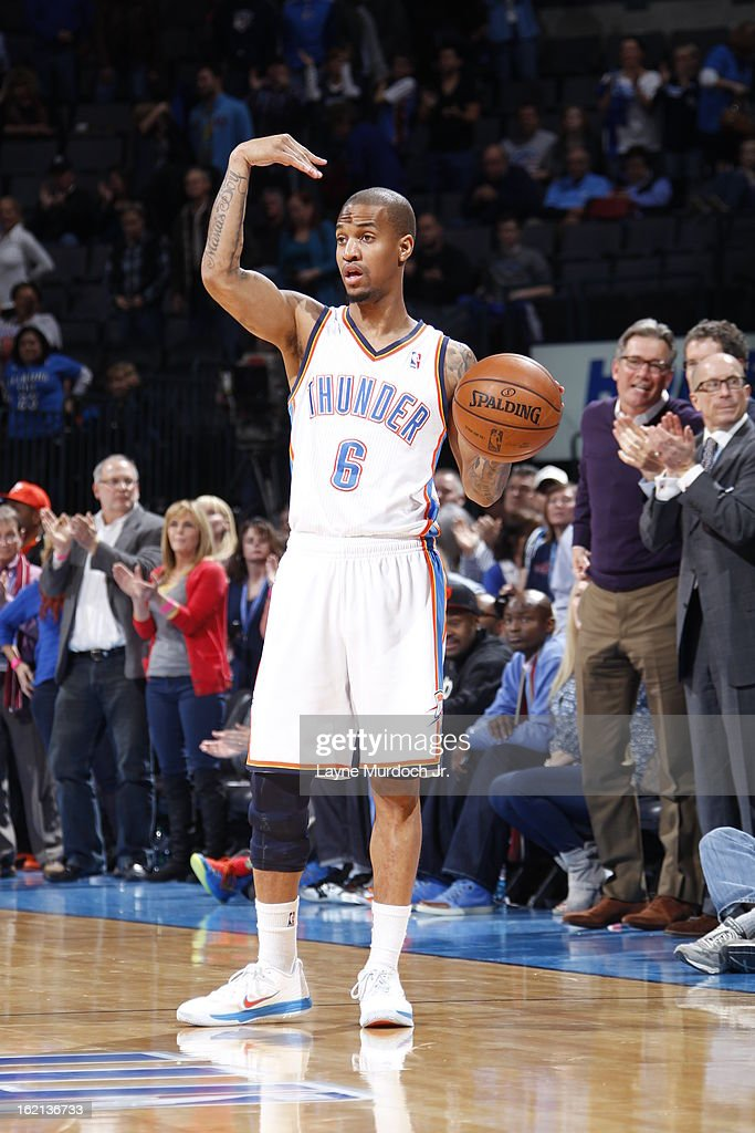 <a gi-track='captionPersonalityLinkClicked' href=/galleries/search?phrase=Eric+Maynor&family=editorial&specificpeople=4194194 ng-click='$event.stopPropagation()'>Eric Maynor</a> #6 of the Oklahoma City Thunder calls a play against the Memphis Grizzlies on January 31, 2013 at the Chesapeake Energy Arena in Oklahoma City, Oklahoma.