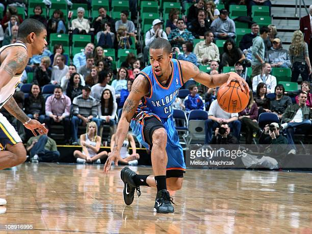 Eric Maynor of the Oklahoma City Thunder dribbles against the Utah Jazz during a game at EnergySolutions Arena on February 5 2011 in Salt Lake City...