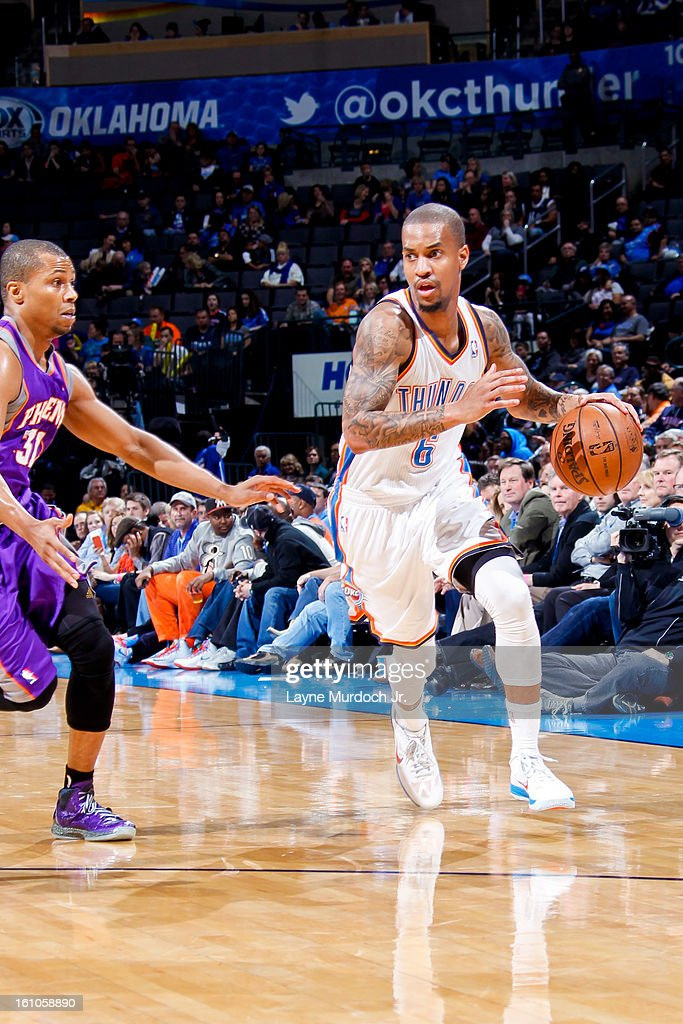<a gi-track='captionPersonalityLinkClicked' href=/galleries/search?phrase=Eric+Maynor&family=editorial&specificpeople=4194194 ng-click='$event.stopPropagation()'>Eric Maynor</a> #6 of the Oklahoma City Thunder drives against <a gi-track='captionPersonalityLinkClicked' href=/galleries/search?phrase=Sebastian+Telfair&family=editorial&specificpeople=202087 ng-click='$event.stopPropagation()'>Sebastian Telfair</a> #31 of the Phoenix Suns on February 8, 2013 at the Chesapeake Energy Arena in Oklahoma City, Oklahoma.
