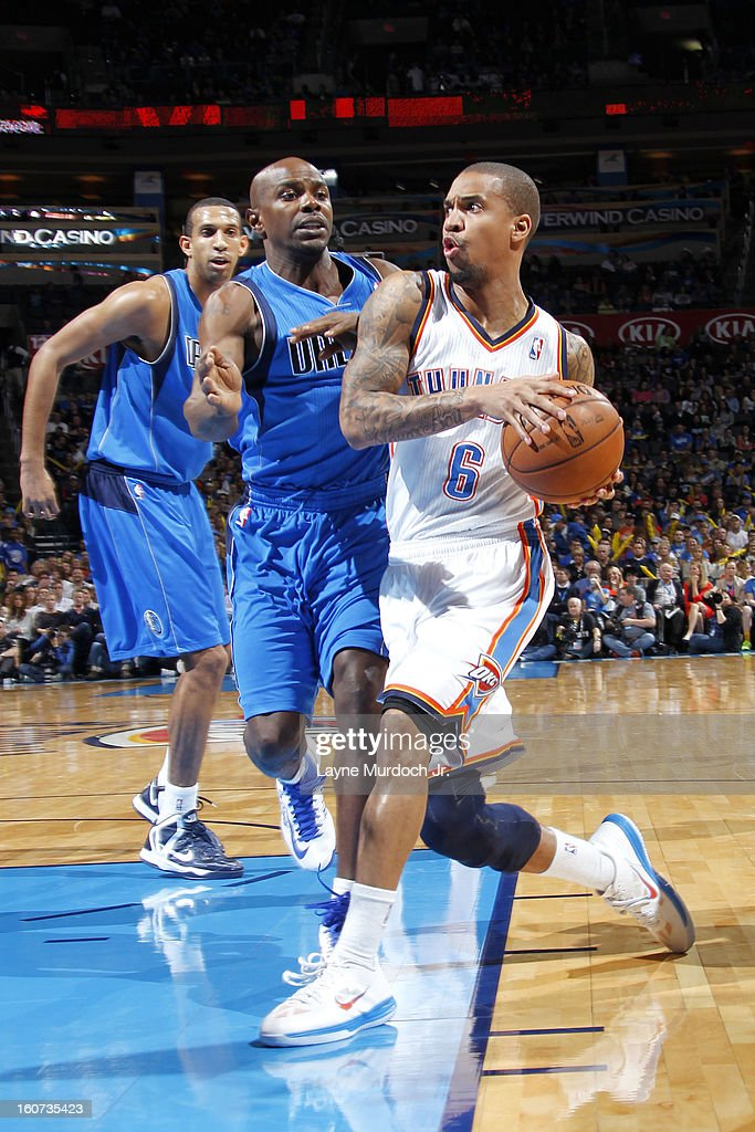 <a gi-track='captionPersonalityLinkClicked' href=/galleries/search?phrase=Eric+Maynor&family=editorial&specificpeople=4194194 ng-click='$event.stopPropagation()'>Eric Maynor</a> #6 of the Oklahoma City Thunder drives to the basket against <a gi-track='captionPersonalityLinkClicked' href=/galleries/search?phrase=Mike+James+-+Basketball+Player+-+Born+1975&family=editorial&specificpeople=13541391 ng-click='$event.stopPropagation()'>Mike James</a> #13 of the Dallas Mavericks on February 04, 2013 at the Chesapeake Energy Arena in Oklahoma City, Oklahoma.