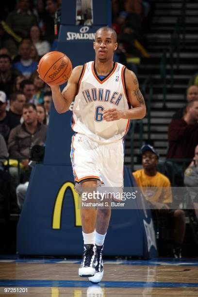 Eric Maynor of the Oklahoma City Thunder moves the ball up court during the game against the Chicago Bulls at Ford Center on January 27 2010 in...