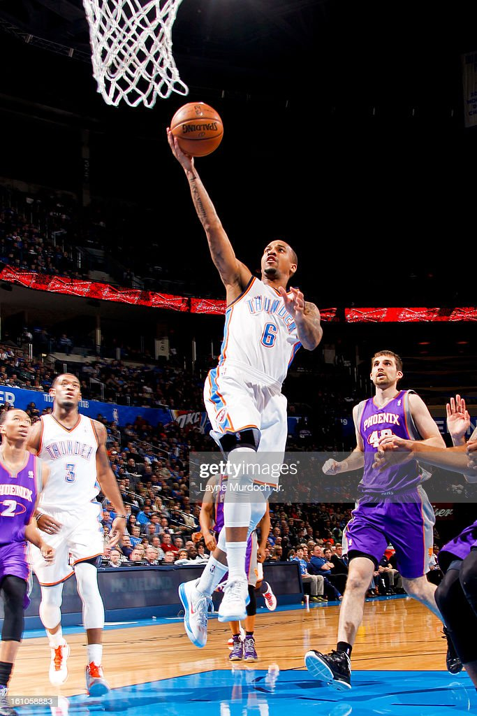 Eric Maynor #6 of the Oklahoma City Thunder shoots a layup against the Phoenix Suns on February 8, 2013 at the Chesapeake Energy Arena in Oklahoma City, Oklahoma.
