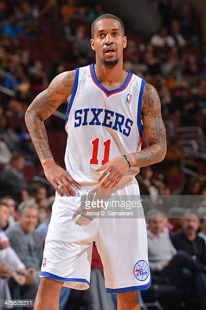 Eric Maynor of the Philadelphia 76ers on the court during the game against the Orlando Magic at the Wells Fargo Center on February 26 2014 in...