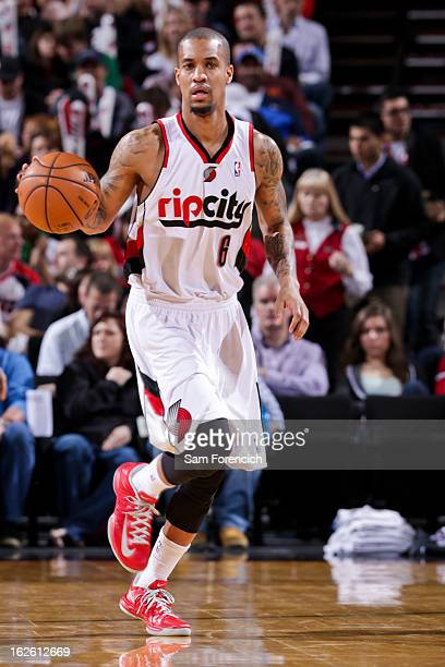 Eric Maynor of the Portland Trail Blazers advances the ball in his debut game for the team against the Boston Celtics on February 24 2013 at the Rose...