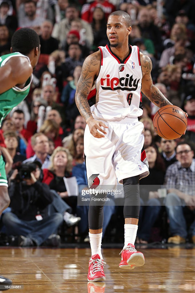 <a gi-track='captionPersonalityLinkClicked' href=/galleries/search?phrase=Eric+Maynor&family=editorial&specificpeople=4194194 ng-click='$event.stopPropagation()'>Eric Maynor</a> #6 of the Portland Trail Blazers brings the ball up court against the Boston Celtics on February 24, 2013 at the Rose Garden Arena in Portland, Oregon.