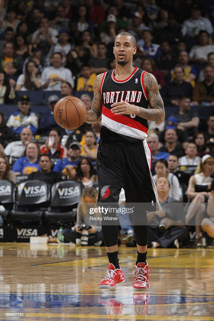 <a gi-track='captionPersonalityLinkClicked' href=/galleries/search?phrase=Eric+Maynor&family=editorial&specificpeople=4194194 ng-click='$event.stopPropagation()'>Eric Maynor</a> #6 of the Portland Trail Blazers brings the ball up the court against the Golden State Warriors on March 30, 2013 at Oracle Arena in Oakland, California.