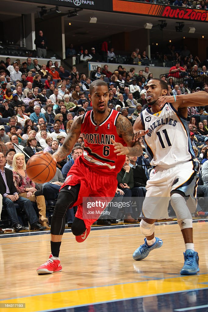 <a gi-track='captionPersonalityLinkClicked' href=/galleries/search?phrase=Eric+Maynor&family=editorial&specificpeople=4194194 ng-click='$event.stopPropagation()'>Eric Maynor</a> #6 of the Portland Trail Blazers drives to the basket against the Memphis Grizzlies on March 6, 2013 at FedExForum in Memphis, Tennessee.