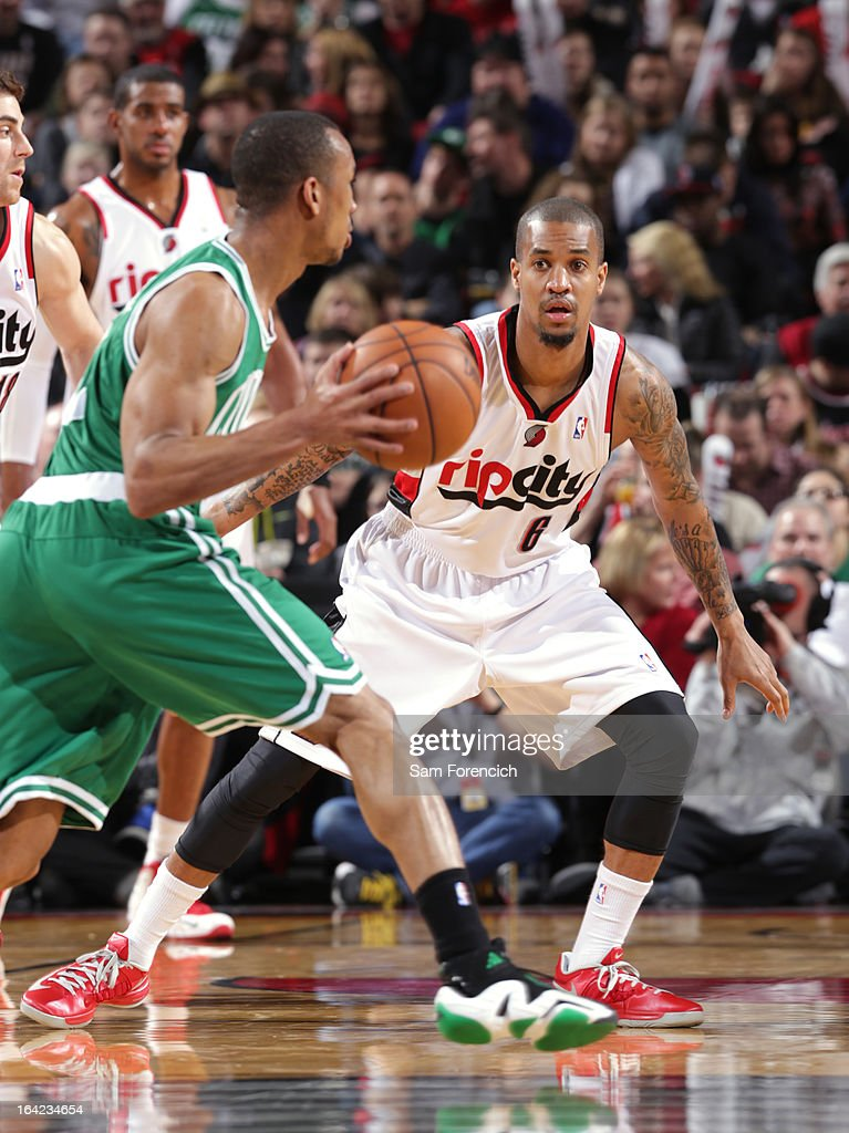 Eric Maynor #6 of the Portland Trail Blazers plays defense against the Boston Celtics on February 24, 2013 at the Rose Garden Arena in Portland, Oregon.