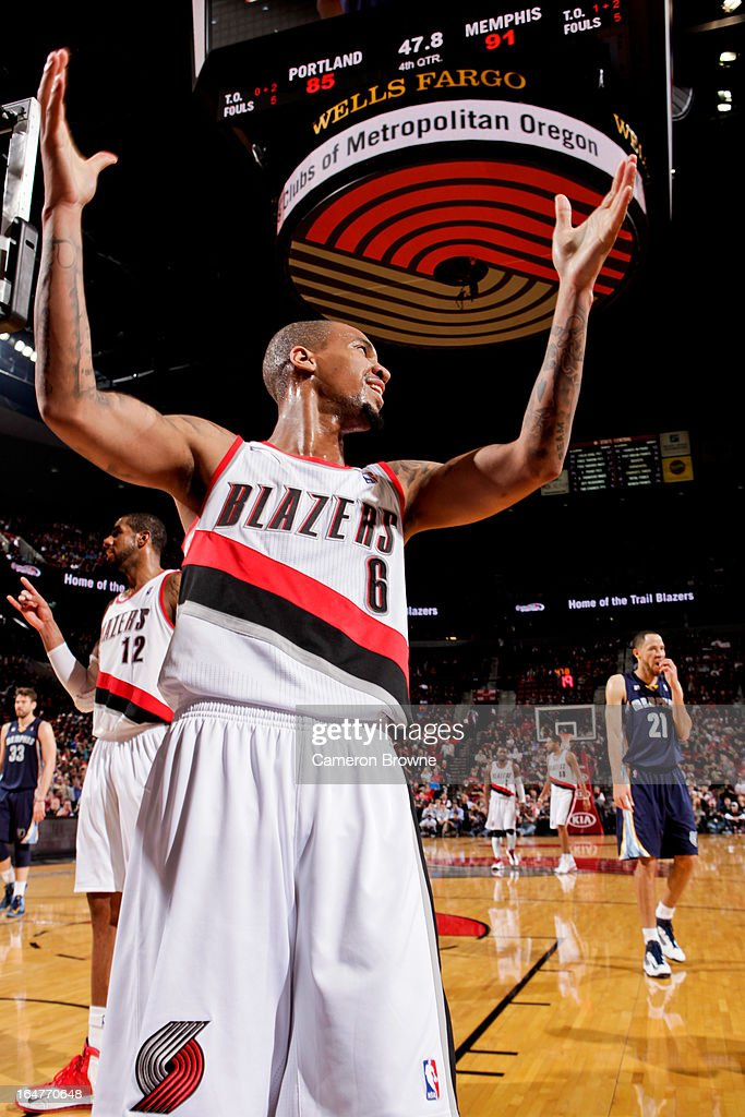 <a gi-track='captionPersonalityLinkClicked' href=/galleries/search?phrase=Eric+Maynor&family=editorial&specificpeople=4194194 ng-click='$event.stopPropagation()'>Eric Maynor</a> #6 of the Portland Trail Blazers reacts during a game against the Memphis Grizzlies on March 12, 2013 at the Rose Garden Arena in Portland, Oregon.