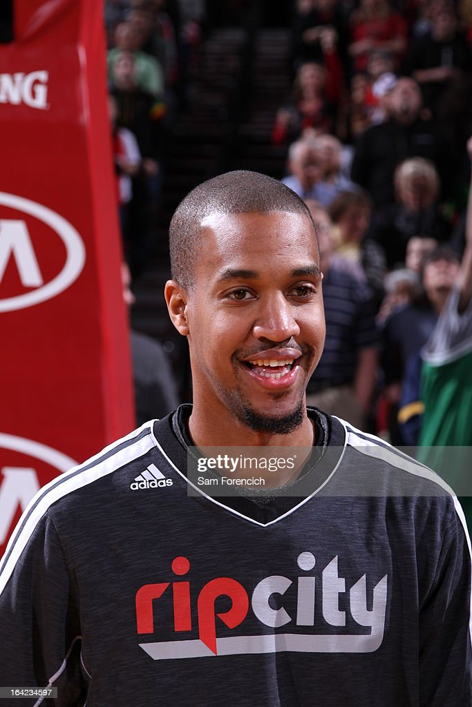 <a gi-track='captionPersonalityLinkClicked' href=/galleries/search?phrase=Eric+Maynor&family=editorial&specificpeople=4194194 ng-click='$event.stopPropagation()'>Eric Maynor</a> #6 of the Portland Trail Blazers smiles before the game against the Boston Celtics on February 24, 2013 at the Rose Garden Arena in Portland, Oregon.