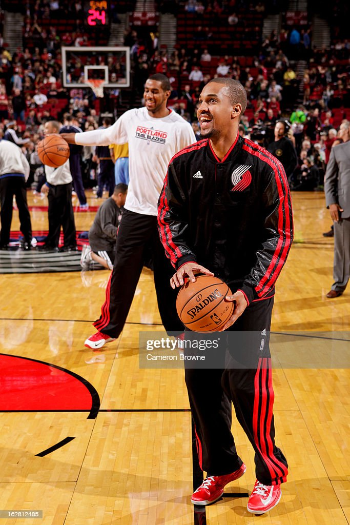 <a gi-track='captionPersonalityLinkClicked' href=/galleries/search?phrase=Eric+Maynor&family=editorial&specificpeople=4194194 ng-click='$event.stopPropagation()'>Eric Maynor</a> #6 of the Portland Trail Blazers smiles during warm-ups before playing against the Denver Nuggets on February 27, 2013 at the Rose Garden Arena in Portland, Oregon.